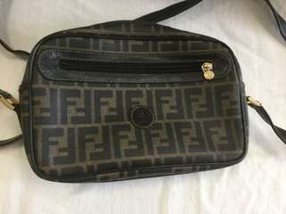 FENDI Vintage Authentic Brown Zucca Monogram Canvas Handbag Bag