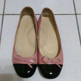 🚚 [ 二手]0101真皮手工粉紅格菱平底娃娃鞋37號