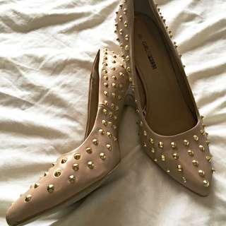 Size 9 Beige Stud Shoes