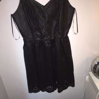Forever 21 - Black Faux Leather Lace Dress!