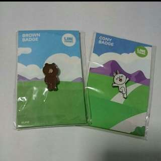 Line Character Brown And Cony full body badges