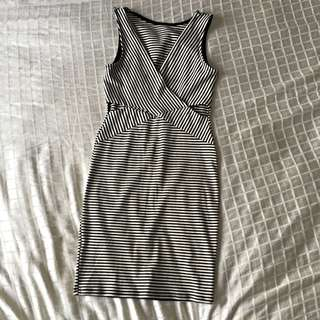 Black Bead Cut Out Dress, Size Small