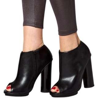 Asos Black Leather Look Peep Toe Booties With Perspex Look Heel Size 8