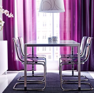 Dining Table, chrome-plated, glass white
