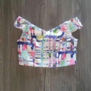 White Colourful Crop Tops