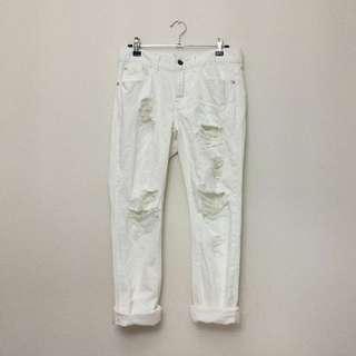 White Distressed Boyfriend Jeans
