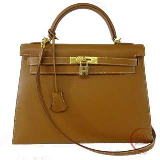 SALE Auth HERMES Kelly 32 Gold Hardware Handbag Gold Courchevel 120-5 5.30