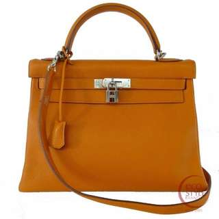 SALE Auth HERMES Kelly 32 SilverHardware Handbag orange Togo 59-6 5.30