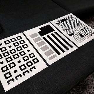 3x Black And White Prints A3 Size