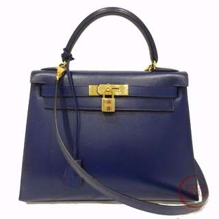 SALE Auth HERMES Kelly 28 Gold Hardware Handbag Blue Roy Box calf 117-04 5.18