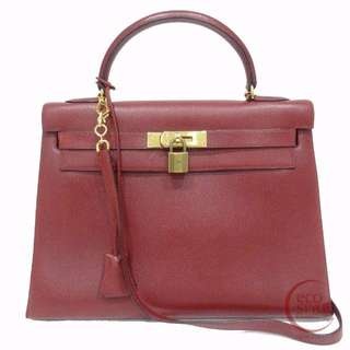 Authentic HERMES Kelly 32 Gold Hardware Handbag Rouge Courchevel 66-8 6.13