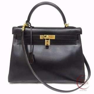 Authentic HERMES Kelly 32 Gold Hardware Handbag Black Box calf 140-3 6.13