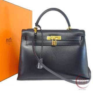 SALE Authentic HERMES Kelly 32 Gold Hardware Handbag Navy Box calf 143-8 5.30