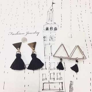 (斷貨款特價) 正韓 韓國耳環 簡單 立體 三角 幾何 簡約 黑色 小流蘇耳環 2款 金銀2色