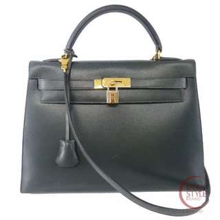 SALE Authentic HERMES Kelly 32 Gold Hardware Handbag Green Box calf 194-7 5.30
