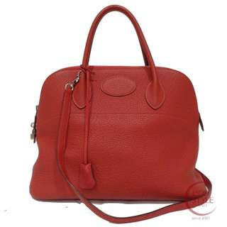 SALE Auth HERMES Bolide 35 SHW Bag Vaud Million Taurillon Clemence 190-4 5.14