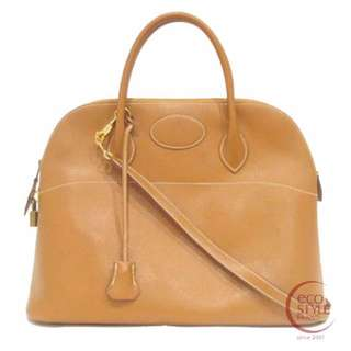 SALE!!! Auth HERMES Bolide35 Gold Hardware Handbag Gold Courchevel 38-5 1.25