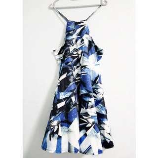 Floral Halter Dress M Blue