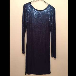 Blue Sequin, Low Back, Long Sleeve Dress