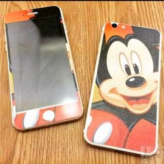 🎀全新🎀復古米奇/Mickey 前後雙面鋼化玻璃膜🎀鋼化玻璃 彩膜 鋼化膜 5.5吋 Iphone6PLUS/Iphone6SPLUS/I6PLUS/I6SPLUS適用 (米奇 iPhone 創意 殼 彩繪 鋼化 保護貼)