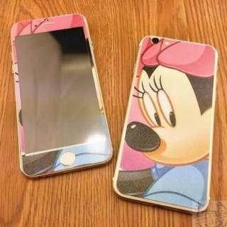 🎀全新🎀復古文藝,iPhone 米妮 Minnie 前後雙面鋼化玻璃膜  🎀鋼化玻璃 彩膜 鋼化膜 5.5吋 Iphone6PLUS/Iphone6SPLUS/I6PLUS/I6SPLUS適用 (米妮 iPhone 創意 殼 彩繪 鋼化 保護貼)