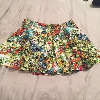 High Waist Floral Skater Skirt