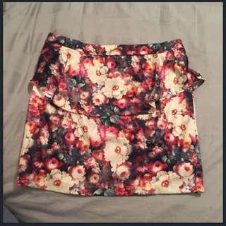 High Waist Floral Peplum