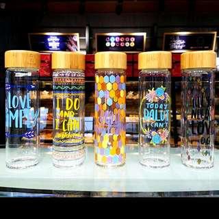 韓國七彩印花木頭蓋玻璃杯