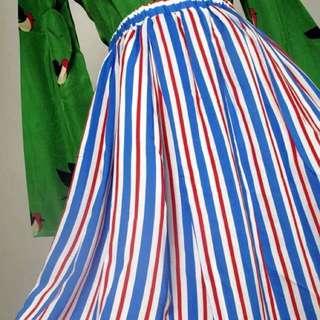 紅藍線條復古裙子 只有一件