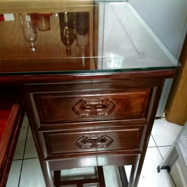 木頭書桌椅,9成新