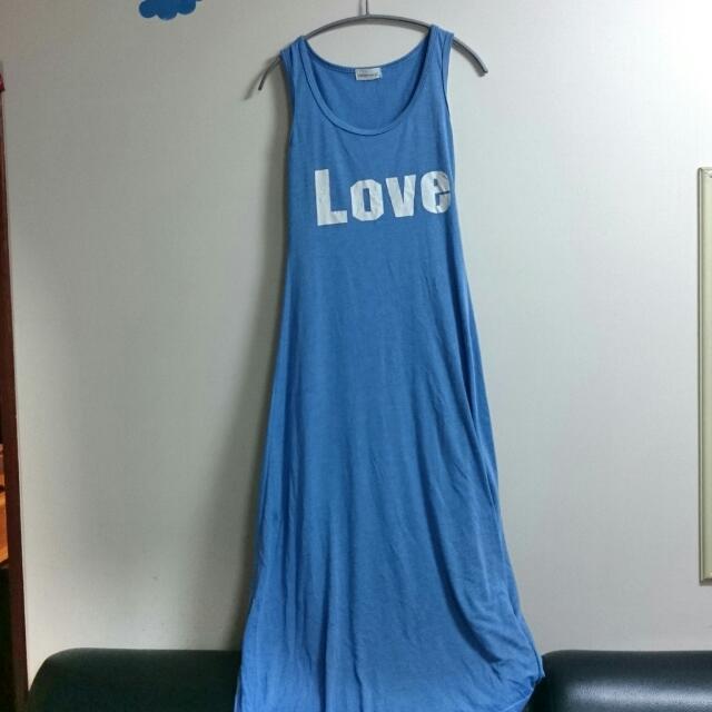 字母長洋裝(淺藍)