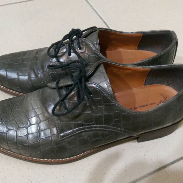 鱷魚皮 牛津鞋 平底