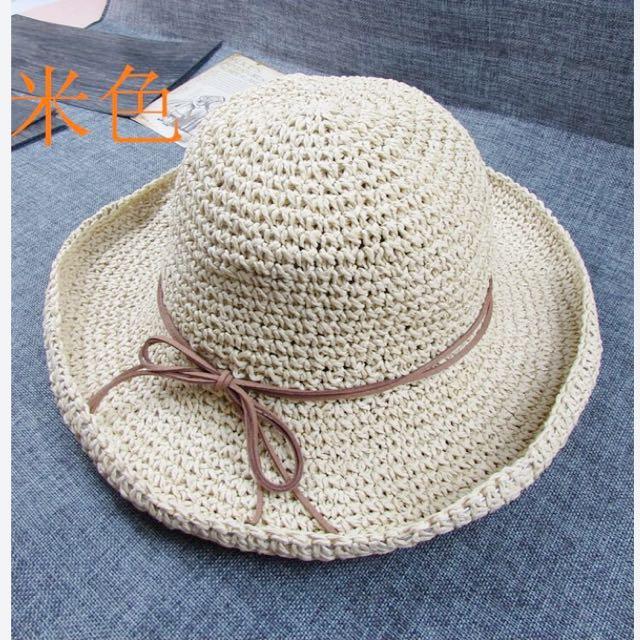 可折疊 編織草帽 夏天必備 海邊必備
