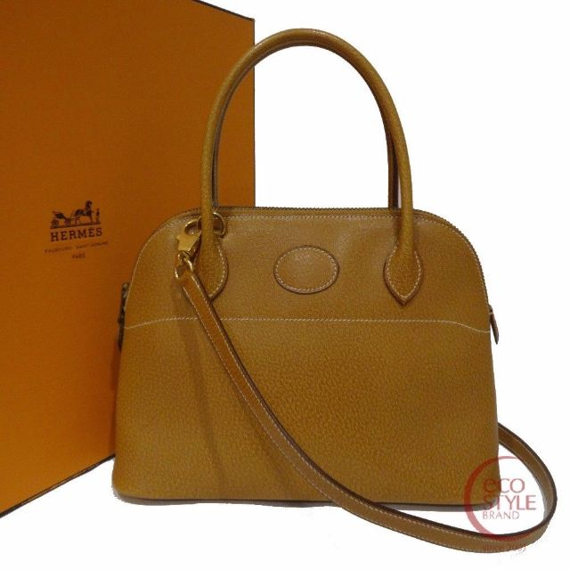 Authentic HERMES Bolide27 Gold Hardware Handbag Gold Peau Porc 479-3 5.22
