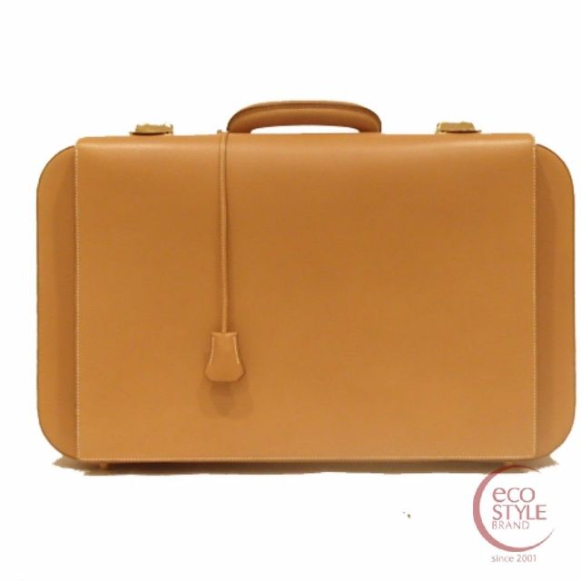 Authentic HERMES Mallet Tanaka GHW suitcase Natural Box calf 377-1 4.24