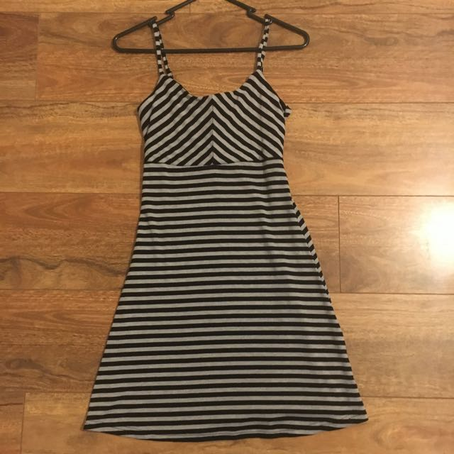 Bardot Black And Grey Striped Dress