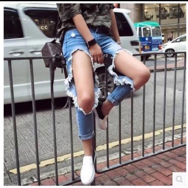 歐美膝蓋破洞寬鬆bf風牛仔長褲
