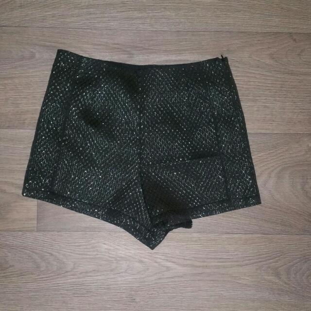 Black Glitter High Waist Shorts