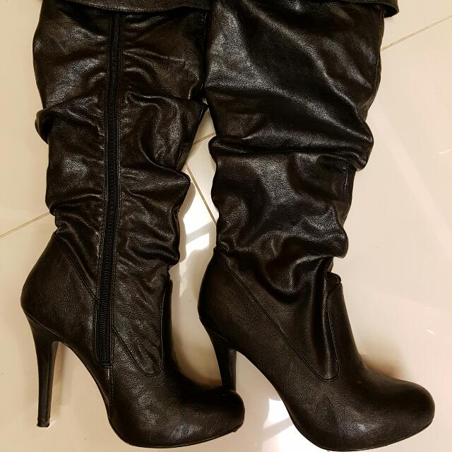 Black Novo Over The Knee Or Below Knee Boots Size 7
