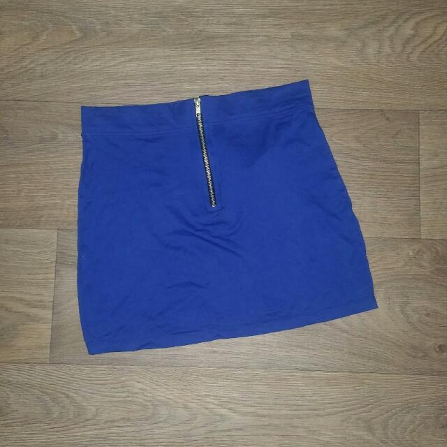Blue Zip Up Front Mini Skirts