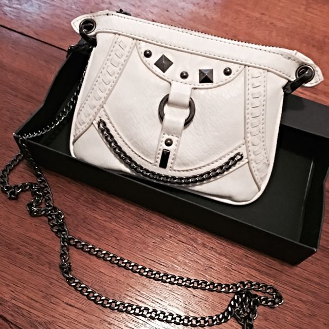 Brand New Wayne Cooper White Studded Bag With Chain