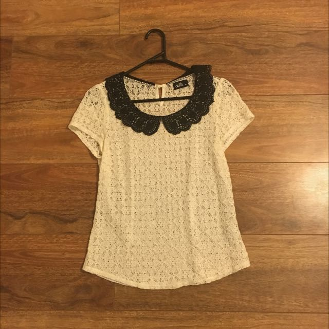 Dotti White And Black Lace Top