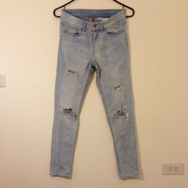 H&M牛仔長褲/刷白破褲