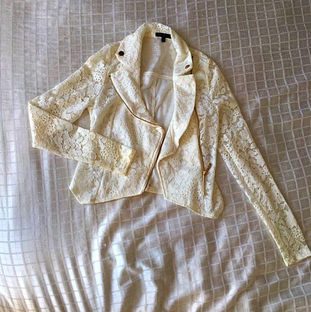 Ivory Lace Waist Jacket, Size Small