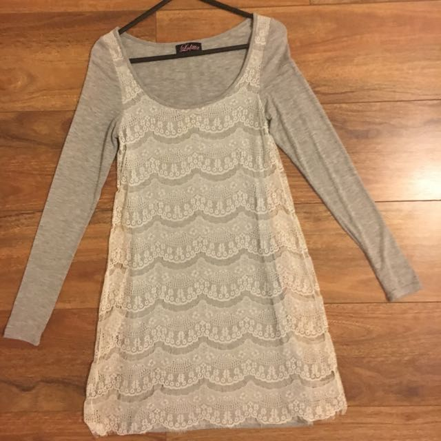 Lolitta Grey And White Lace Dress