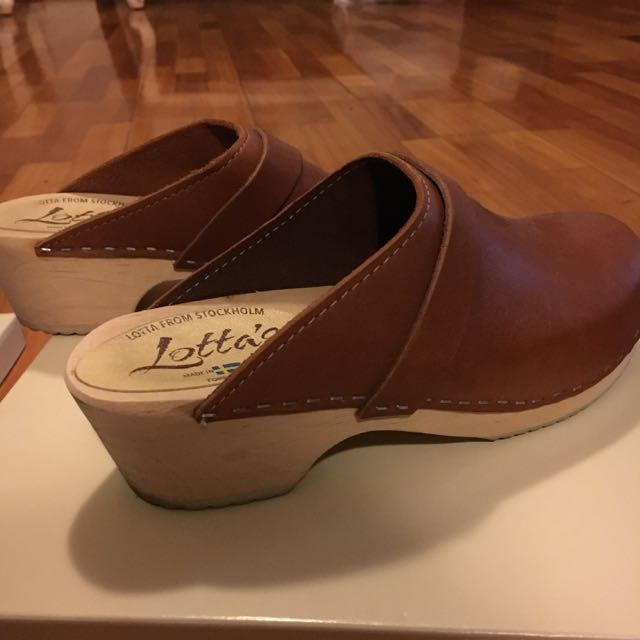 Lotta's Genuine Leather Brown Wedge Clogs Made In Swedan