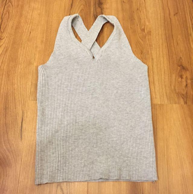 Queen Shop 灰色針織短版背心