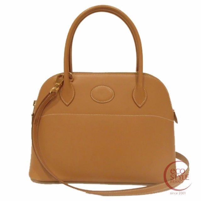 SALE Auth HERMES Bolide27 Gold Hardware Handbag Natural Box calf 410-10 4.29