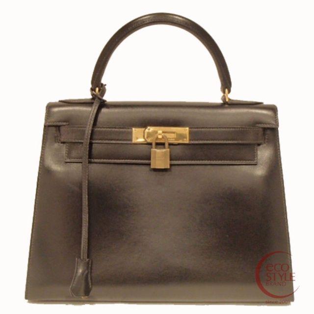SALE Auth HERMES Kelly 28 Gold Hardware Handbag Black Box calf 357-01 3.30