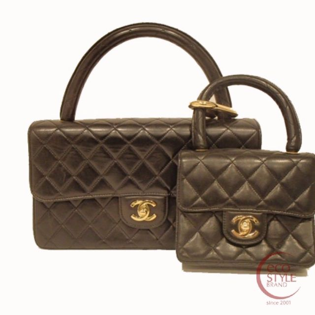 SALE Authentic CHANEL Handbag Set Black Lambskin 431-10 3.30